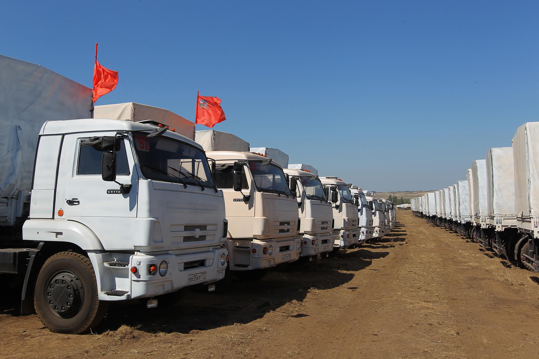 Russian humanitarian aid convoy in Rostov region