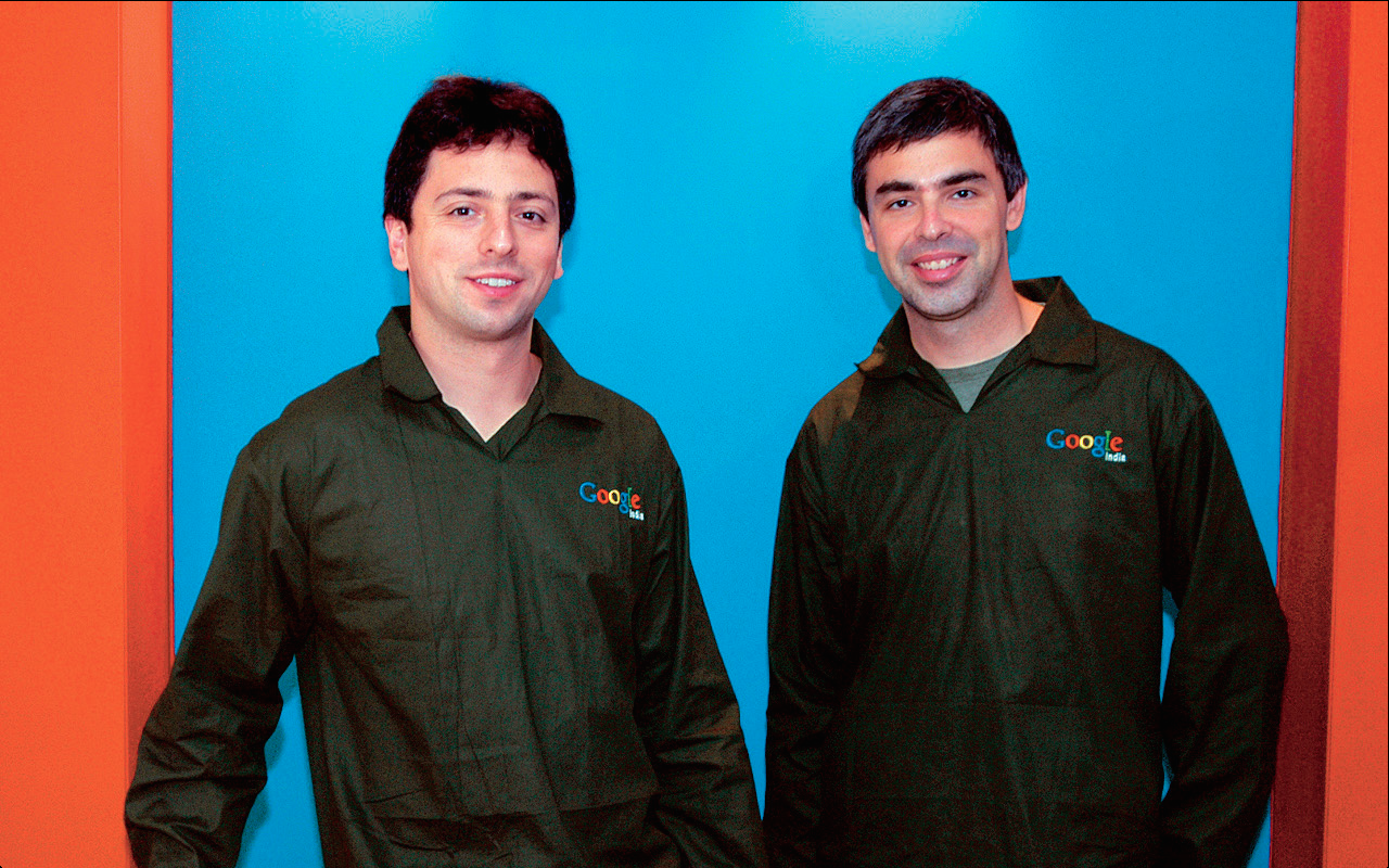 Sergey Brin with Larry Page in Bangalore, india in October 2004.