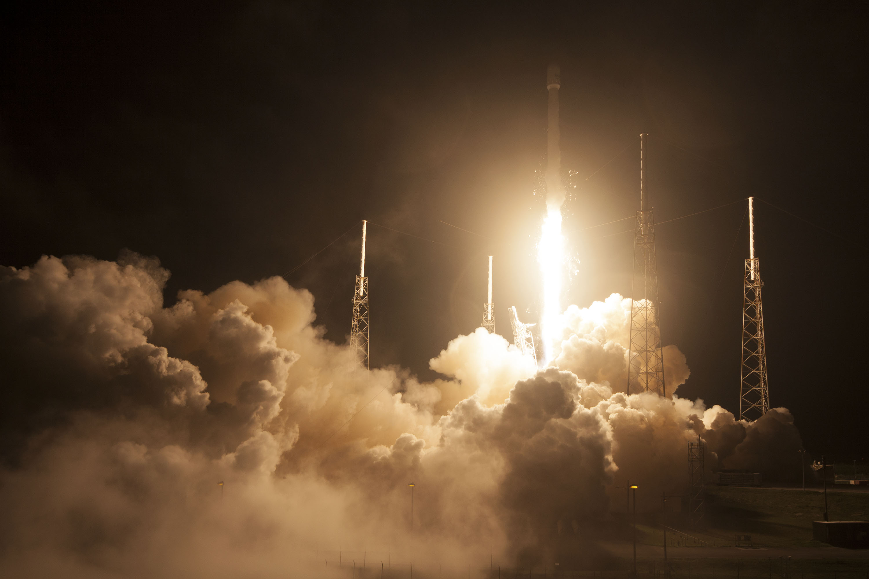 A SpaceX Falcon 9 rocket carrying an Asiasat satellite launches in Cape Canaveral, Fla. on August 7, 2014.