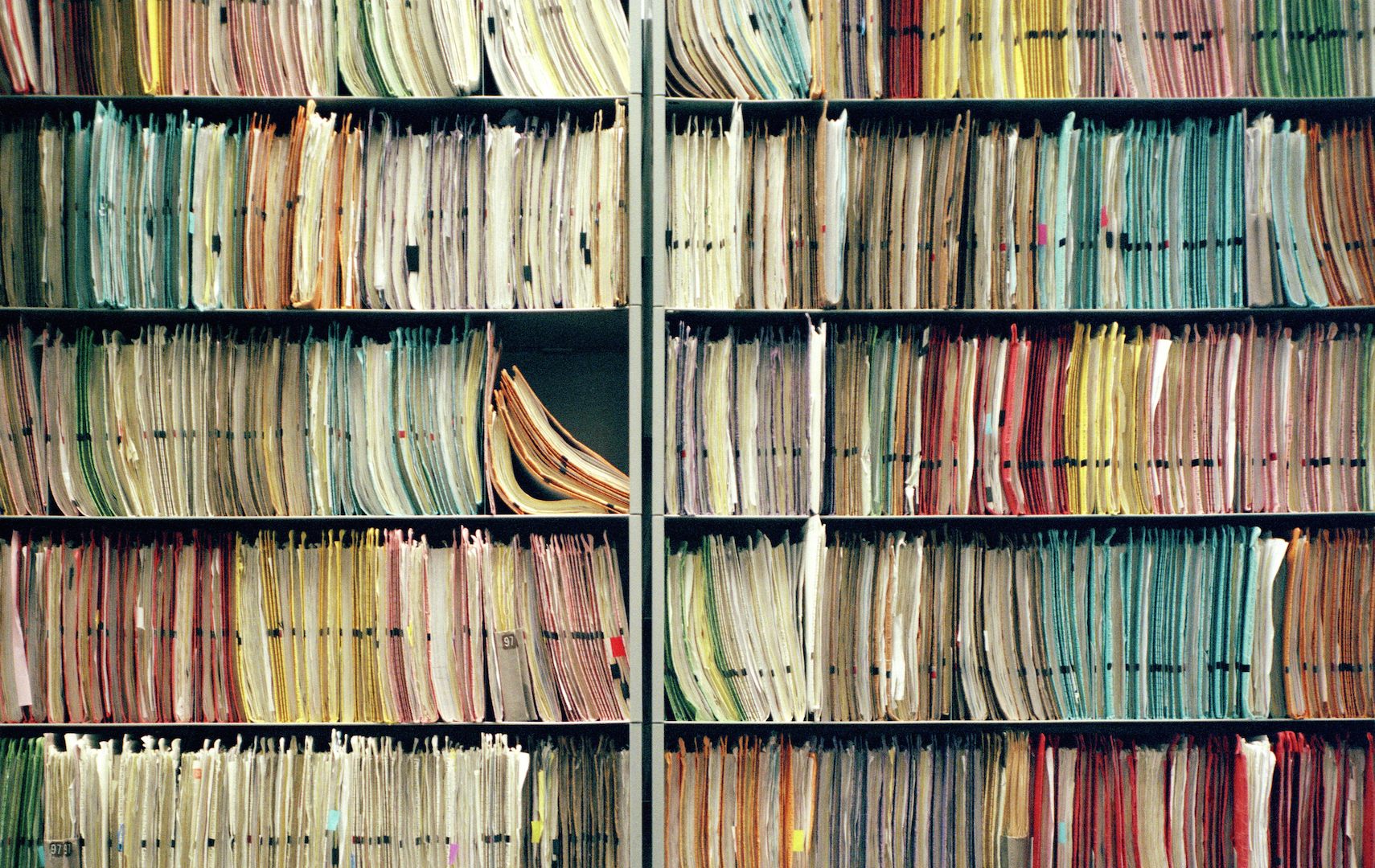Shelves with medical records and health files