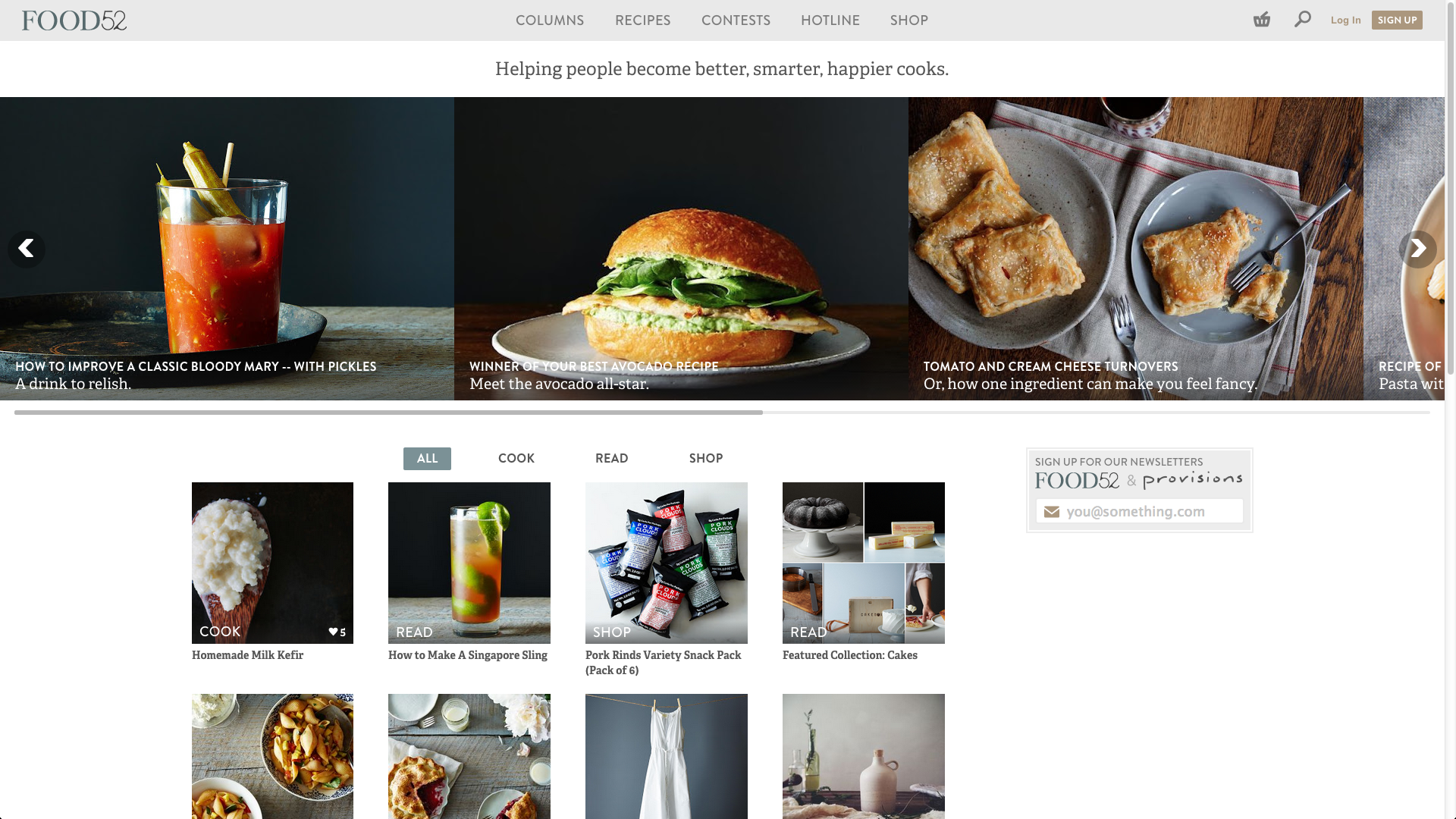 Food52's homepage.