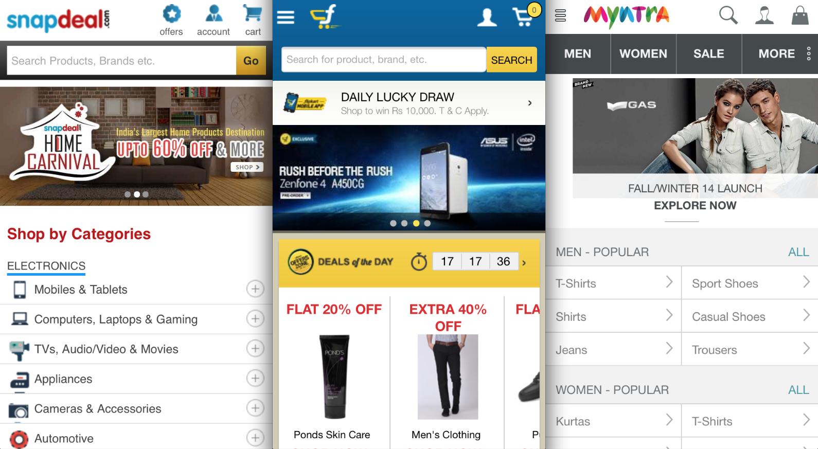 India e-commerce: Snapdeal, Flipkart, Myntra