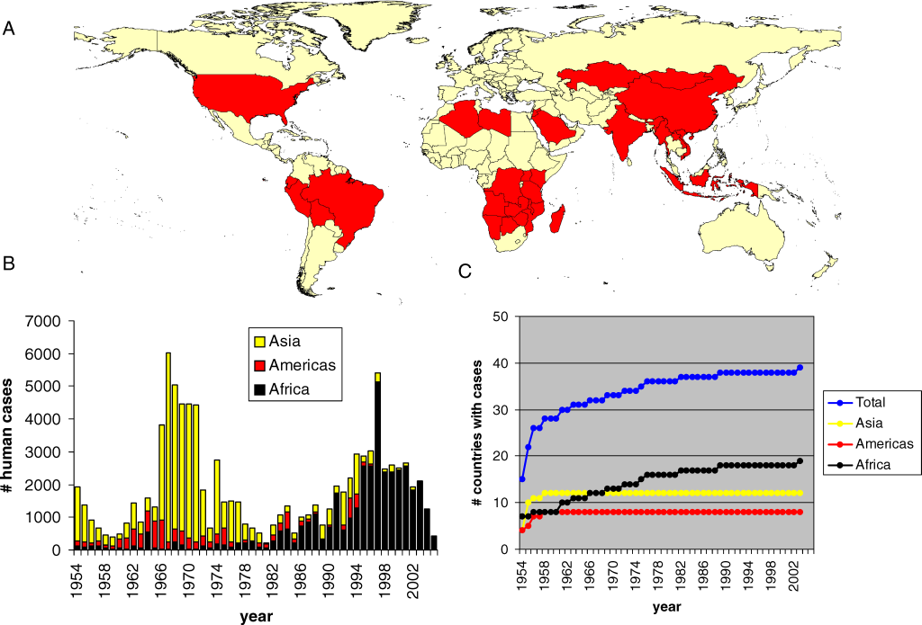 The Global Distribution of Plague (A) Map showing countries with known presence of plague in wild reservoir species (red) (after [3]). For US only the mainland below 50° N is shown. (B) Annual number of human plague cases over different continents, reported to WHO in the period 1954–2005. (C) Cumulative number of countries that reported plague to WHO since 1954. doi:10.1371/journal.pmed.0050003.g001