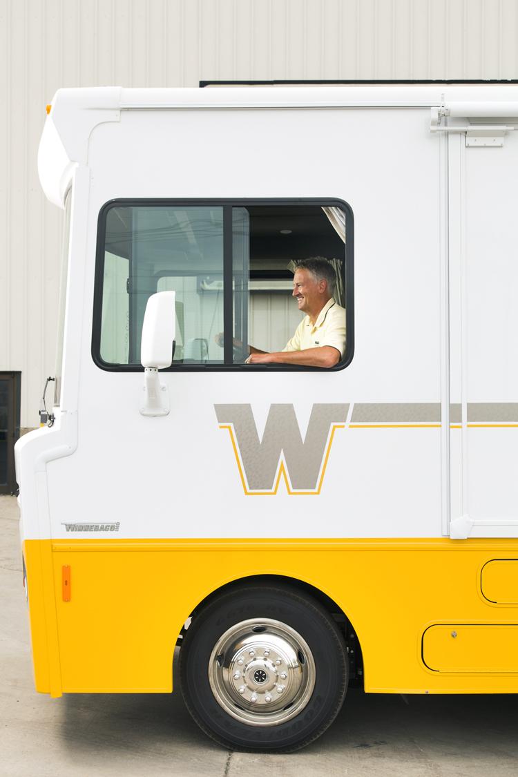 CEO Randy Potts at the wheel of Winnebago's new Brave.