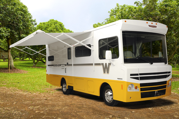 Winnebago's great hope is the brave, a reinvention of its original '60s-era motor home. its colors—such as mello yellow—are aimed to appeal to nostalgic boomers.
