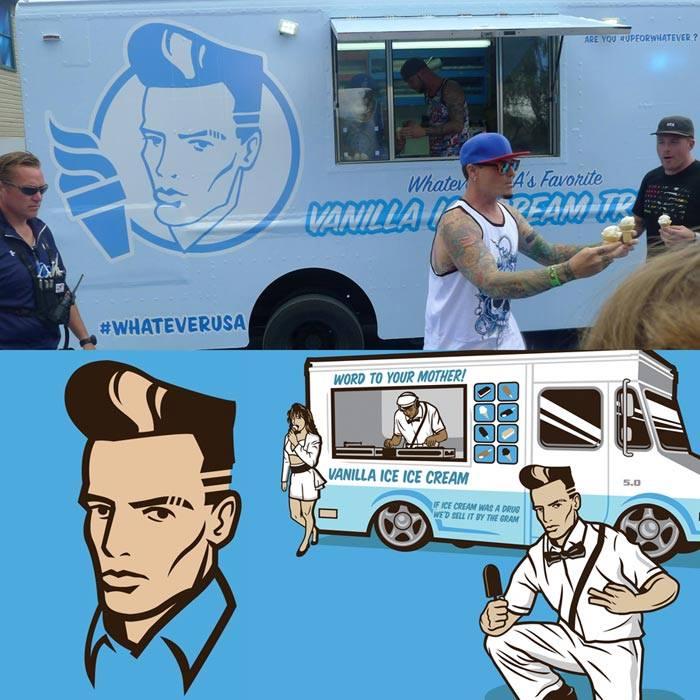 Top: Bud Light's Vanilla Ice Cream Truck. Bottom: Ben Douglass's design