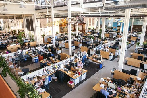 Clif Bar's open floor offices in Emeryville, Calif.