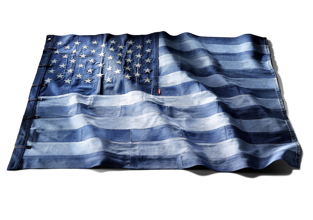 American flag made from Levi's jeans