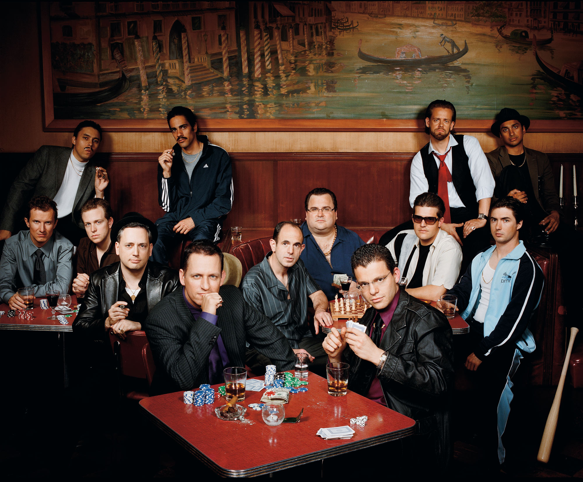 "The ""paypal mafia"" photographed at Tosca in San Francisco, Oct, 2007.Back row from left: Jawed Karim, co-founder Youtube; Jeremy Stoppelman CEO Yelp; Andrew McCormack, managing partner Laiola Restaurant; Premal Shah, Pres of Kiva; 2nd row from left: Luke Nosek, managing partner The Founders Fund; Kenny Howery, managing partner The Founders Fund; David Sacks, CEO Geni and Room 9 Entertainment; Peter Thiel, CEO Clarium Capital and Founders Fund; Keith Rabois, VP BIz Dev at Slide and original Youtube Investor; Reid Hoffman, Founder Linkedin; Max Levchin, CEO Slide; Roelof Botha, partner Sequoia Capital; Russel Simmons, CTO and co-founder of Yelp"