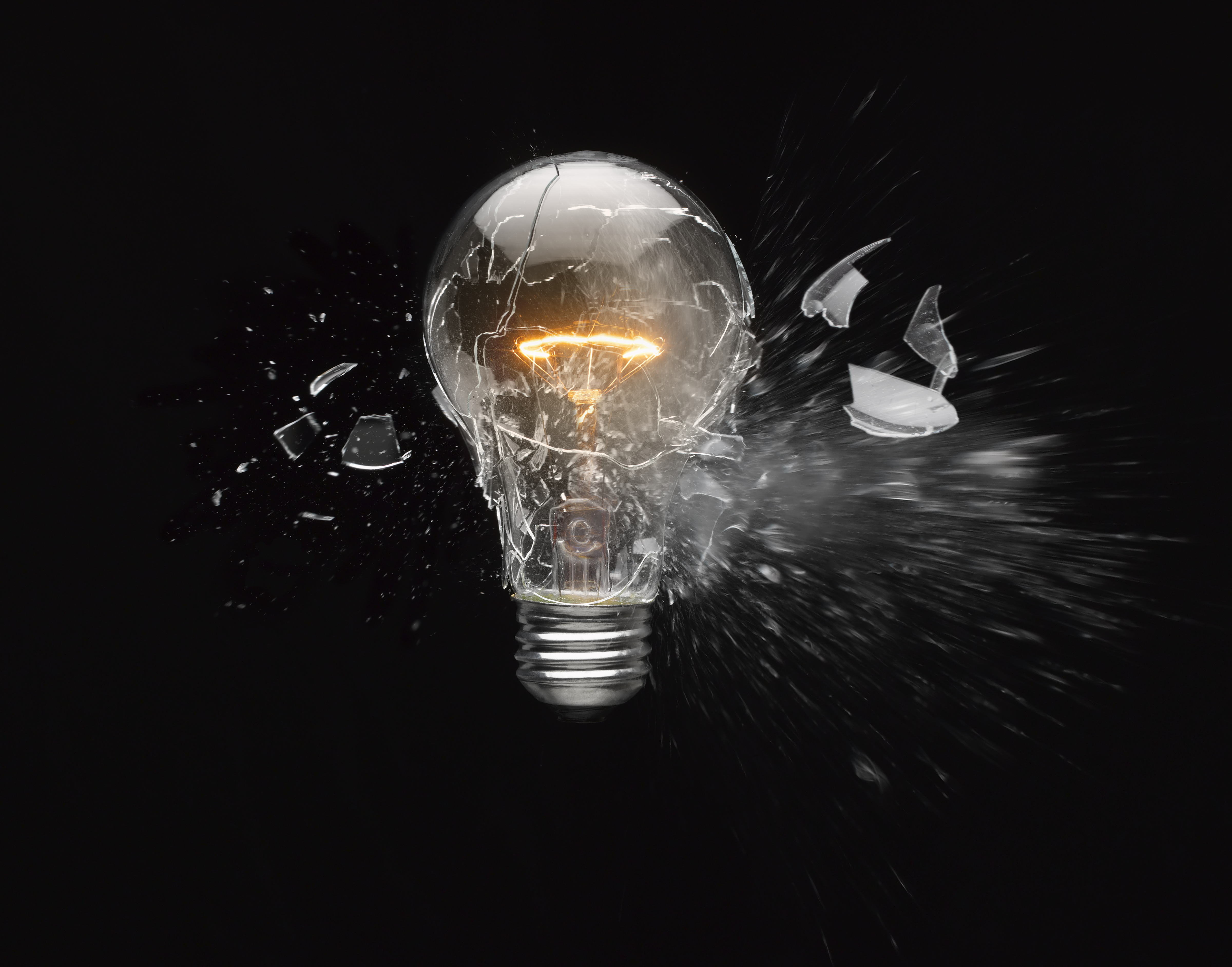shattered incandescent light bulb