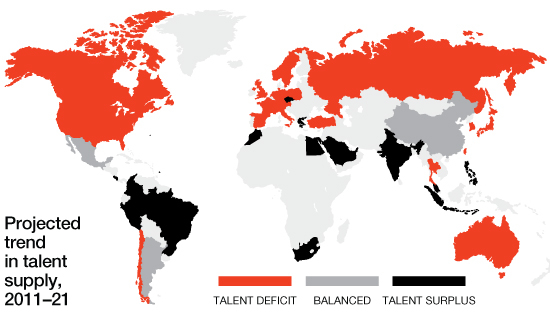 The Global Talent Crunch Over the next decade, it is estimated that the growth in demand for college-educated talent will exceed the growth in supply for most developed world. India's educated workforce is growing 2% annually, while America's is shrinking 0.8% each year.