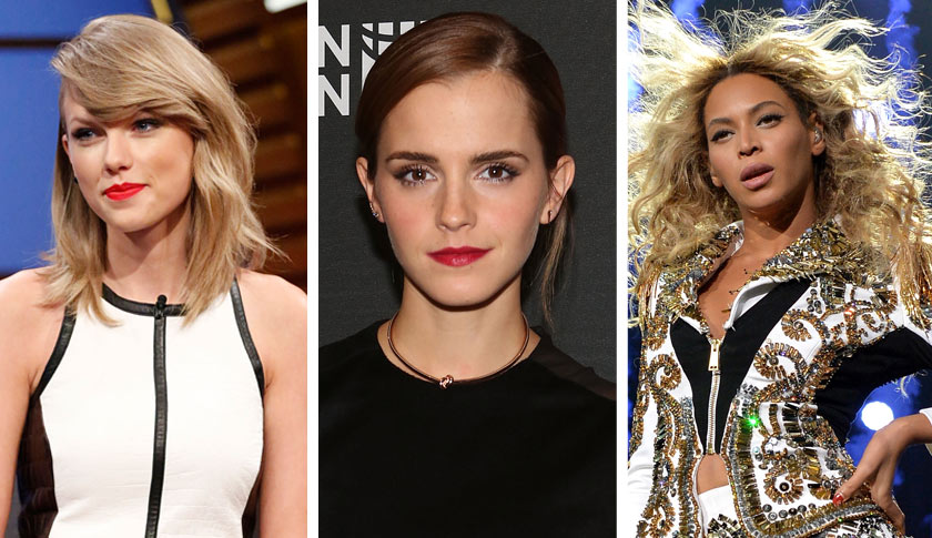 (From left to right) Taylor Swift, Emma Watson, and Beyoncé Knowles.