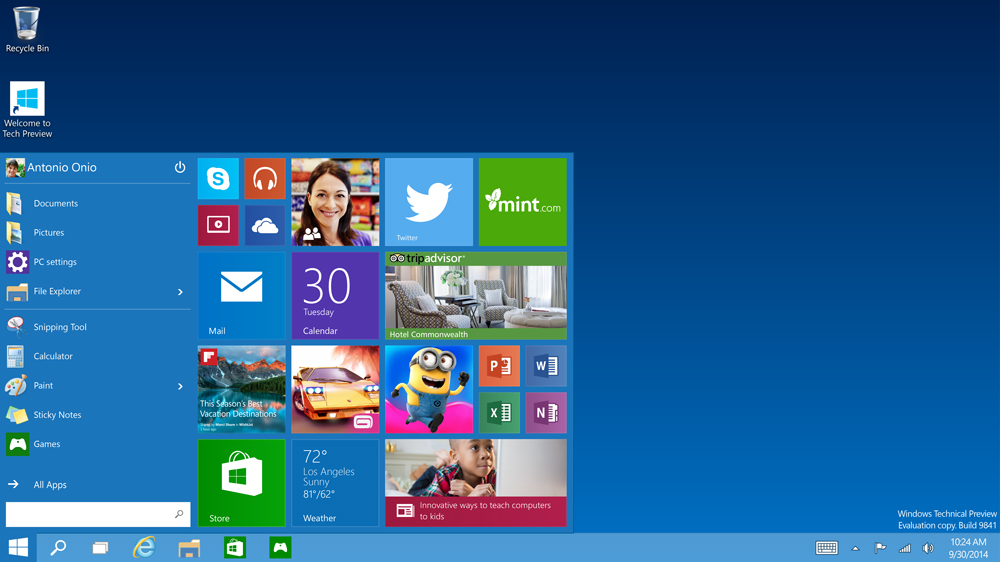 The new Windows 10 start screen.