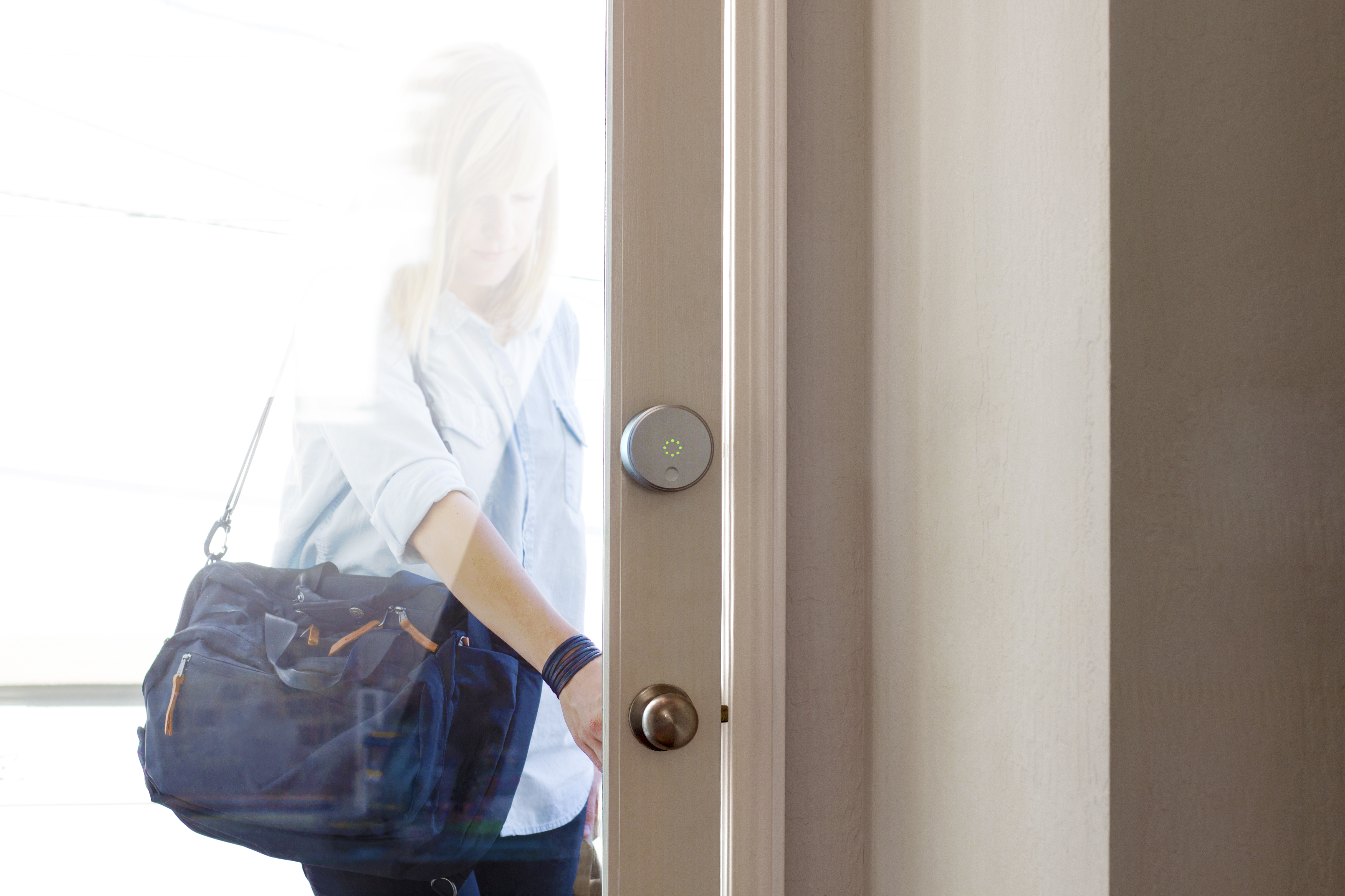 A door equipped with an August smart lock