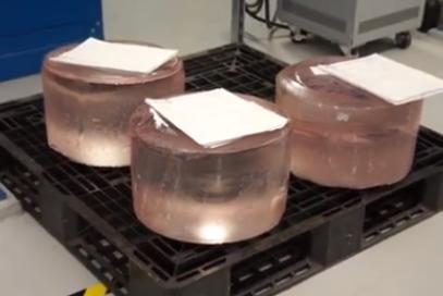 Three 15-kg sapphire boules.