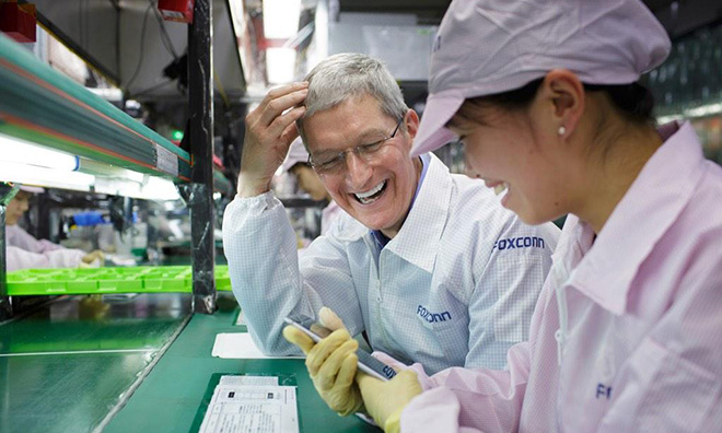 Cook at an iPhone factory