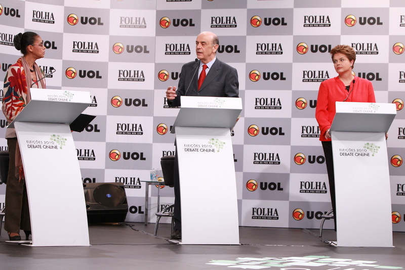 Marina Silva and Dilma Rousseff partake in a debate moderated by former São Paulo governor José Serra during Brazil's 2010 presidential election campaign.