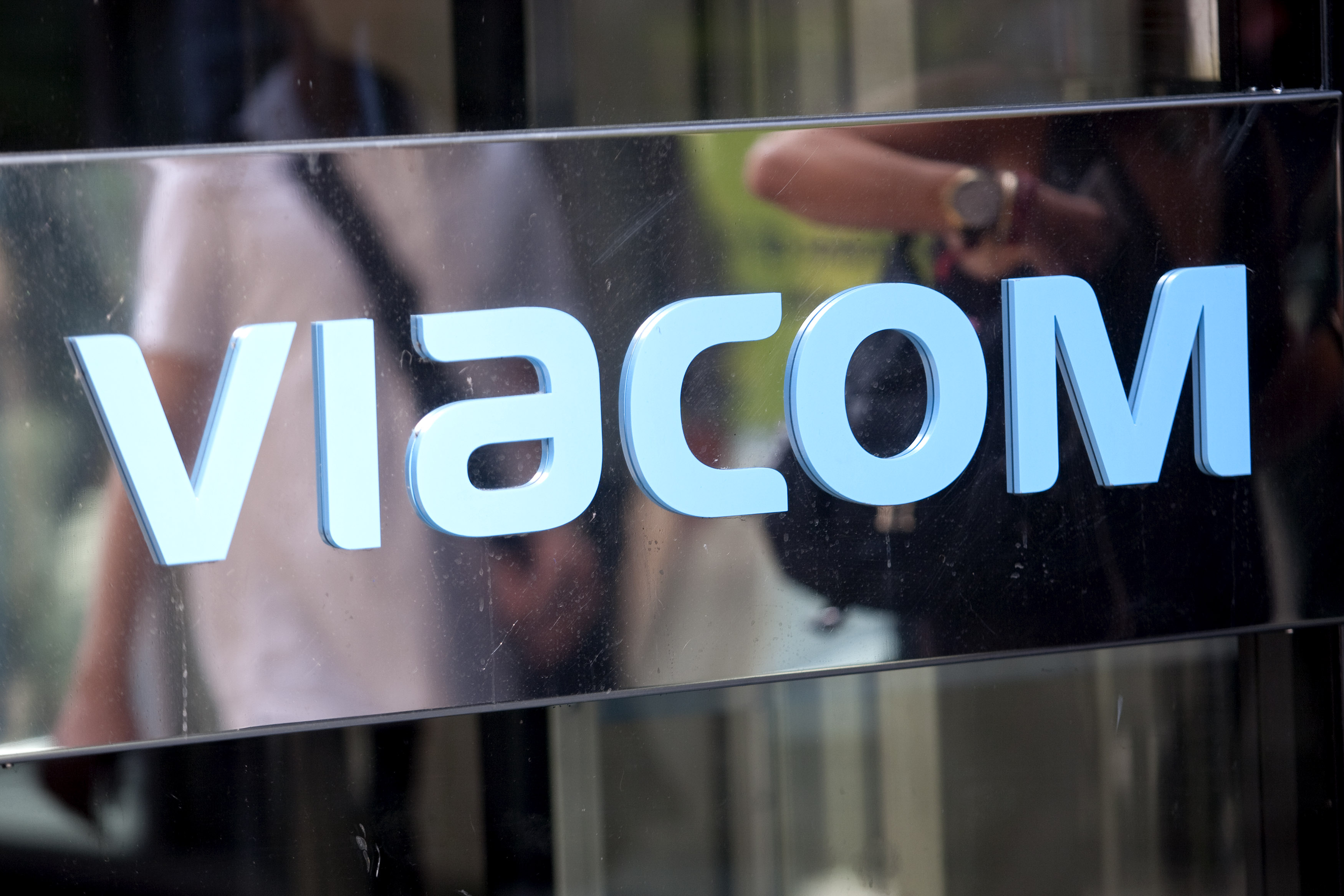 The Viacom Inc. logo is displayed outside the headquarters i