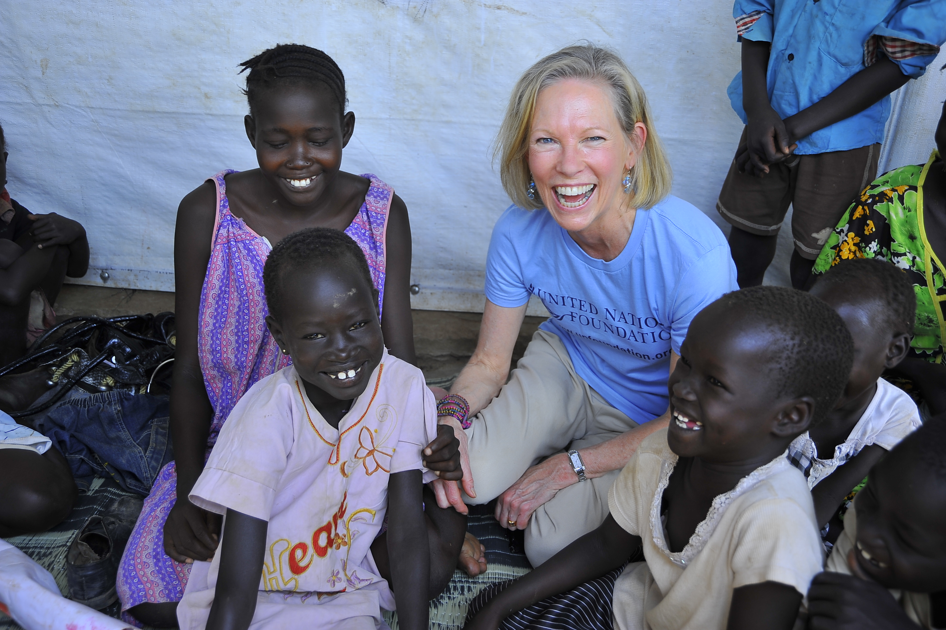 Kathy Calvin meets Nyanwour and her four children at the United Nations' Kakuma Refugee Camp in Northwest Kenya. Nyanwour had fled violence in South Sudan with her children who were between 5 and 8 years old, and walked three days to get to the safety of the Kakuma camp.