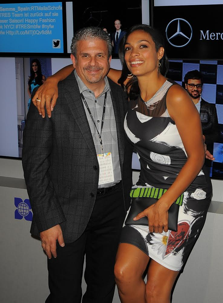 Yappn CEO David Lucatch with actress Rosario Dawson at New York Fashion Week 2014