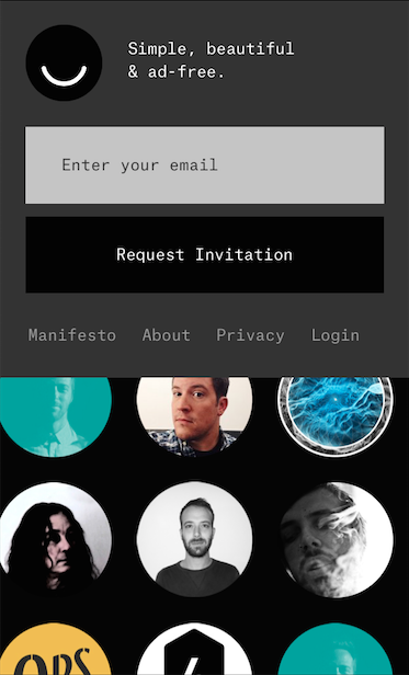 The Ello sign-up screen, as seen on a mobile device.