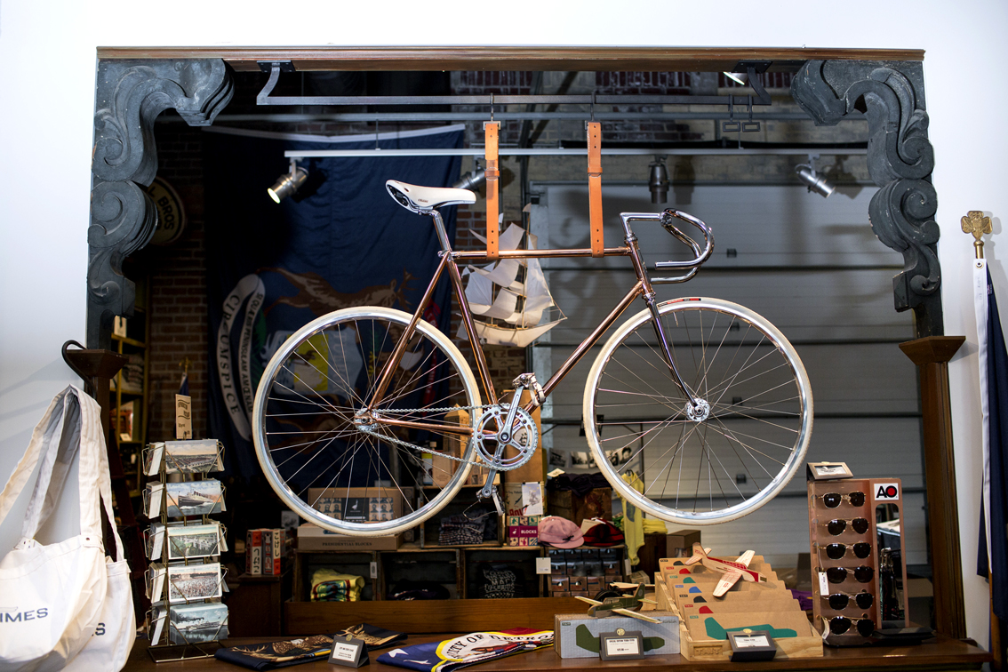 """Detroit Bicycle Co.'s handcrafted copper single-speed bike—named """"The Trumbull Street"""" after a historic Motor City neighborhood—is for sale at the Detroit Mercantile."""