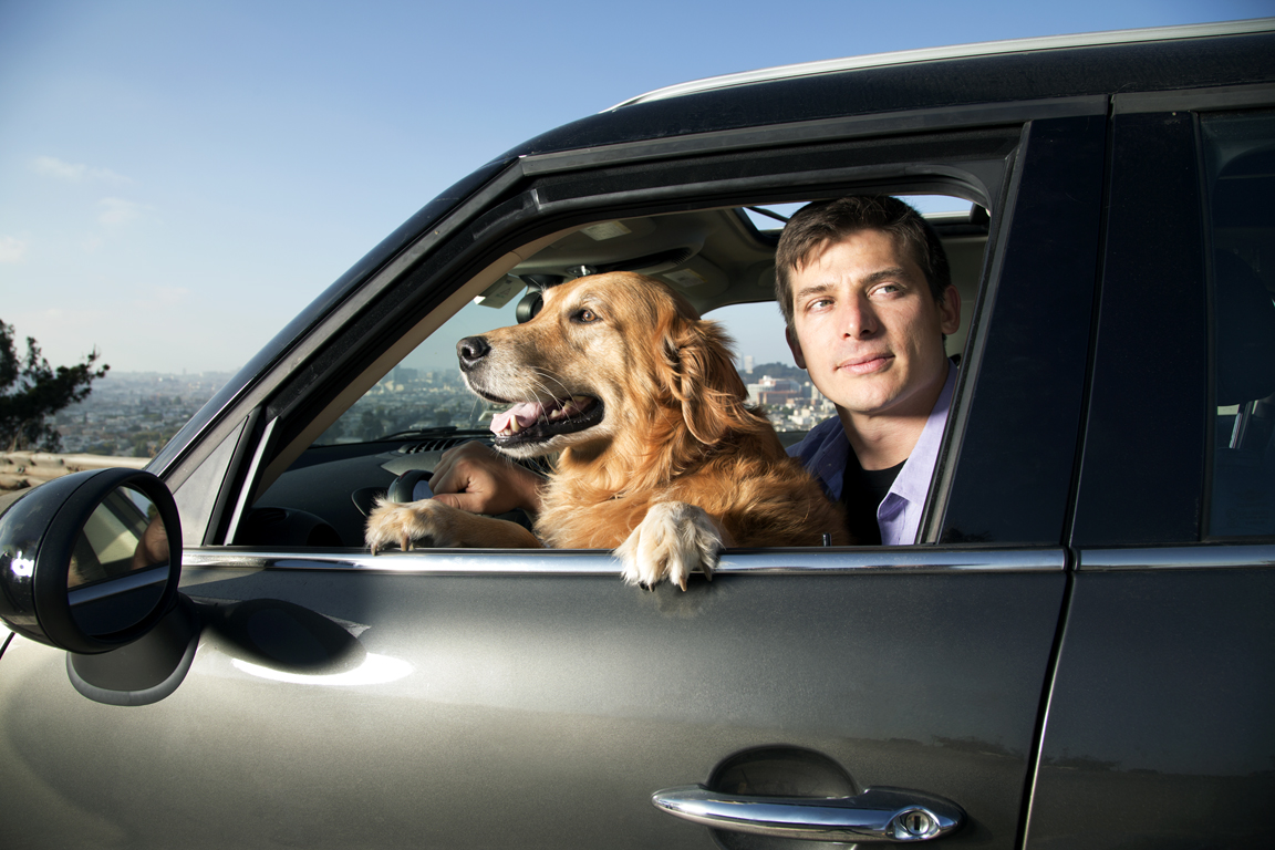 Josh Tetric photographed with his dog in Bernal Heights, SF, CA