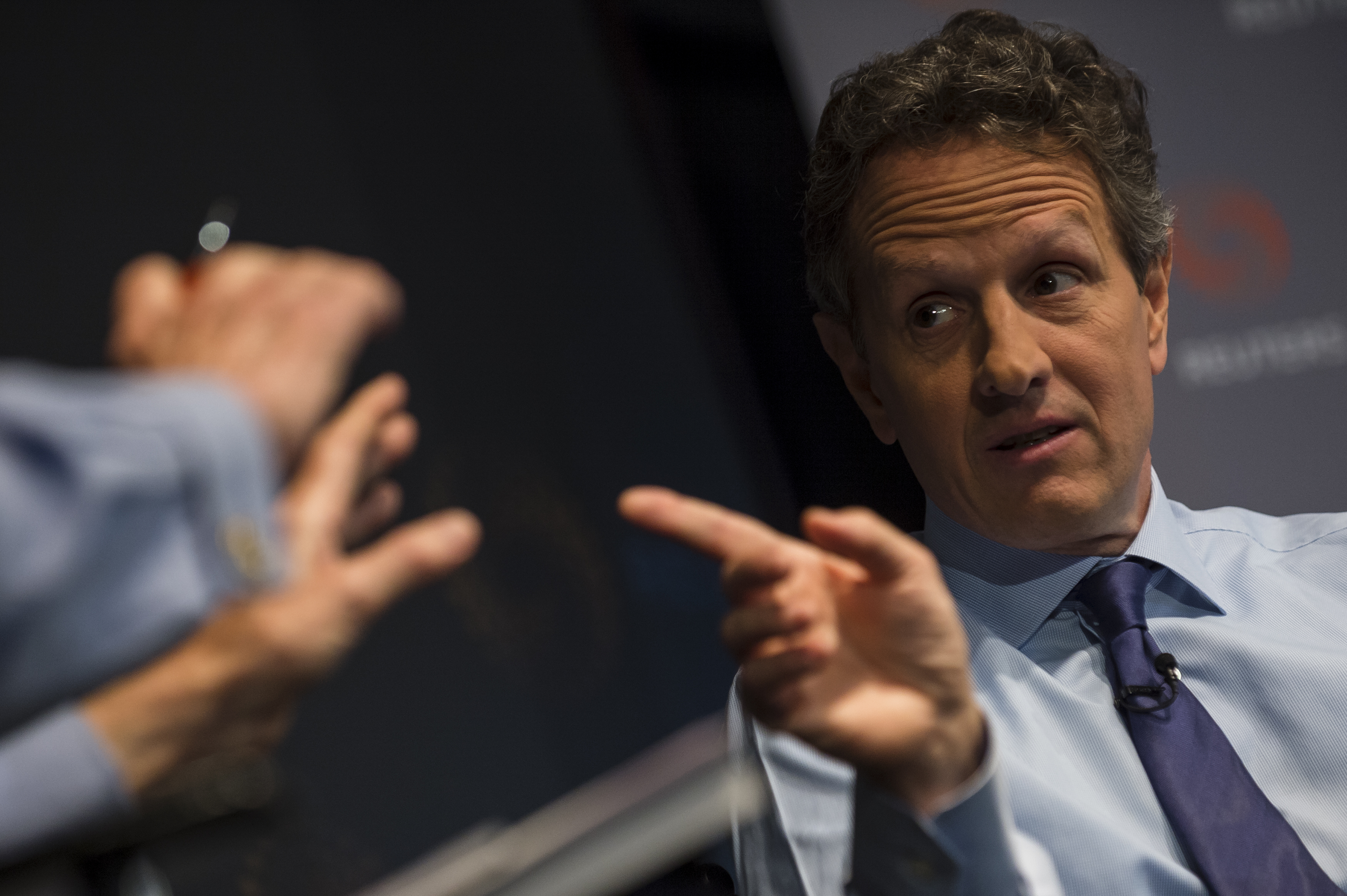 Geithner speaks during an event in New York