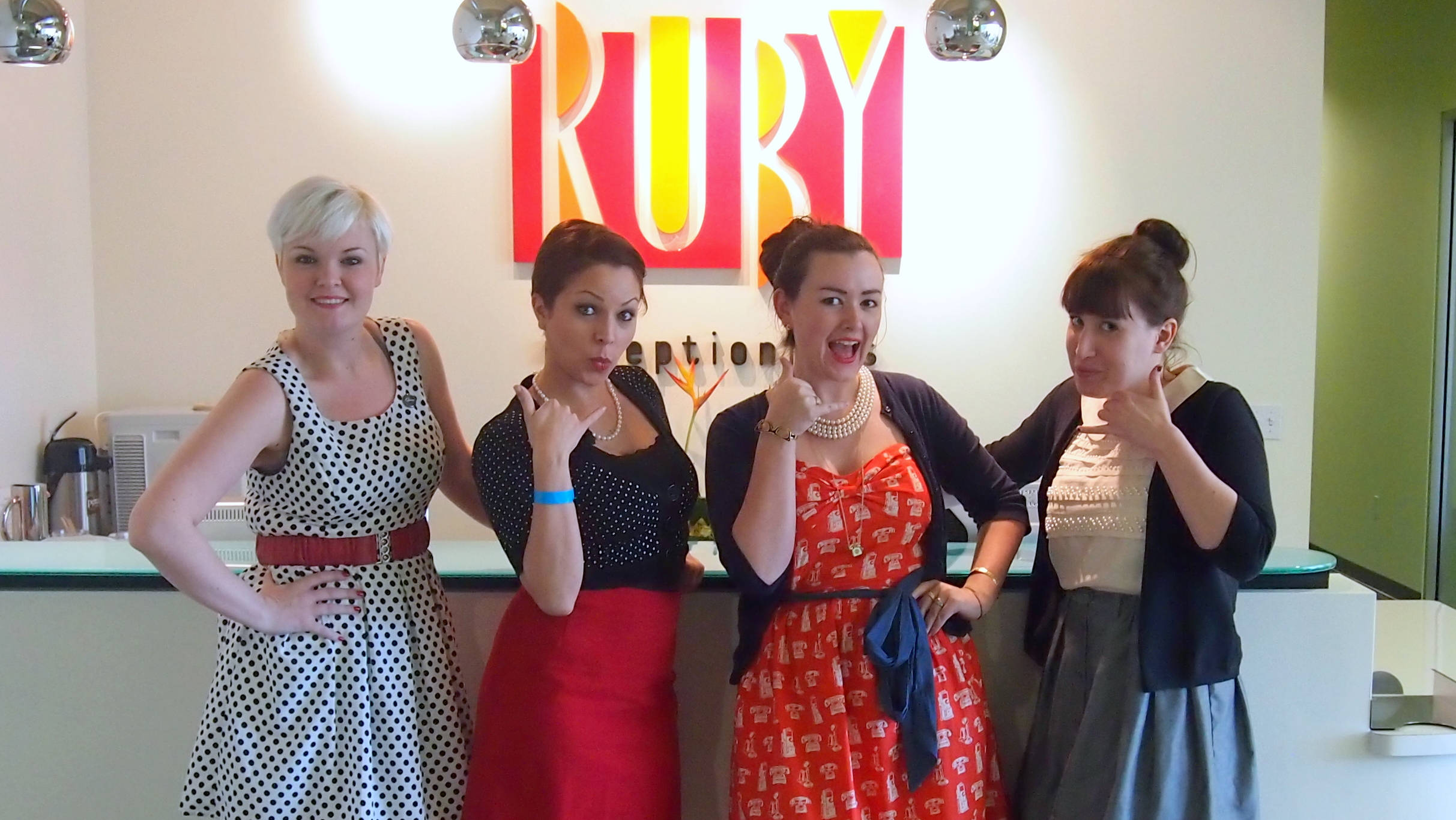 Ruby Receptionist employees on Secretary's Day.