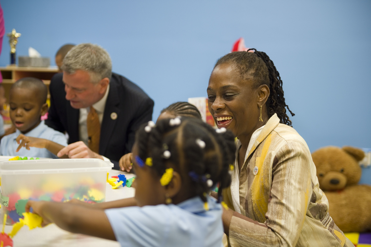 Chirlane McCray visit Inner Force Tots in Brooklyn on September 4, 2014.