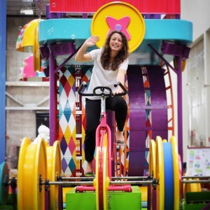GoldieBlox founder Debbie Sterling test drives the company's Macy's Thanksgiving Day Parade float.