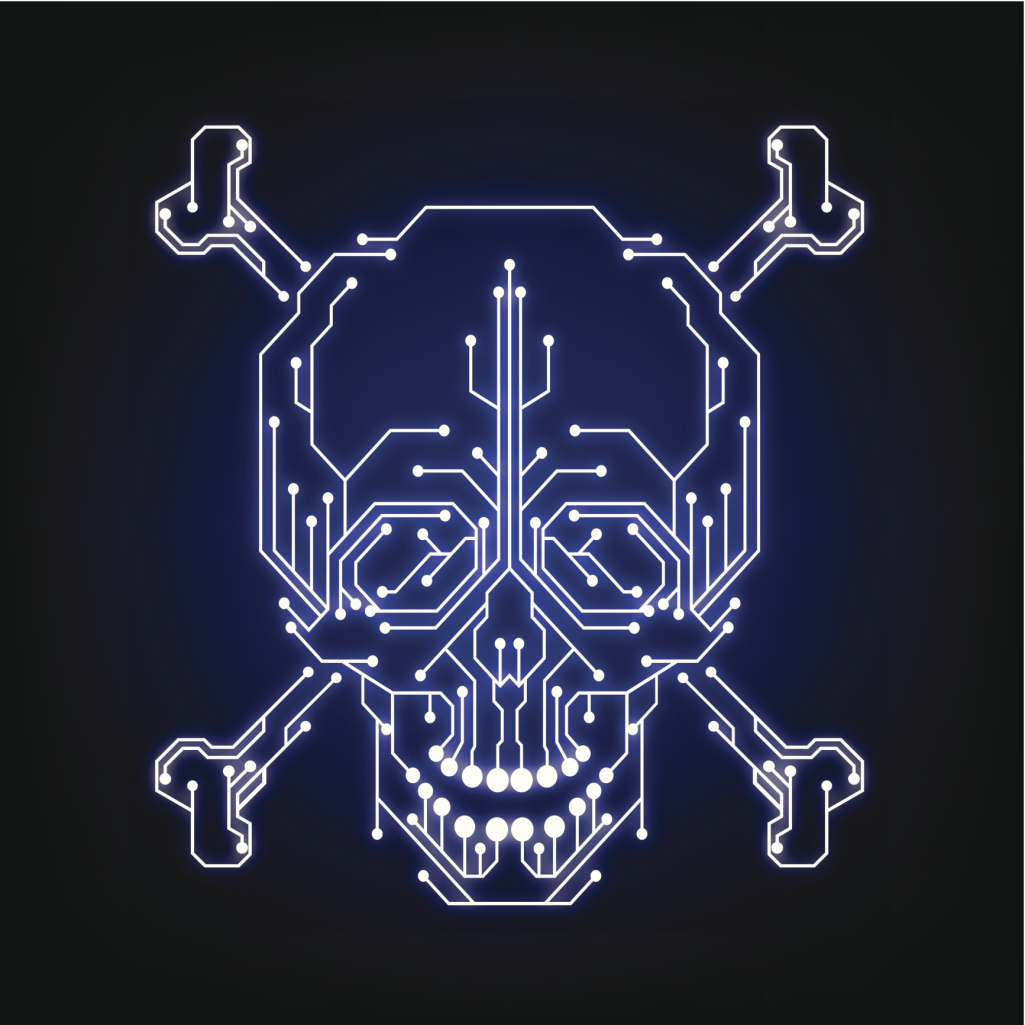 Cyber security, piracy, hacker, bug, flaw, crack, skull