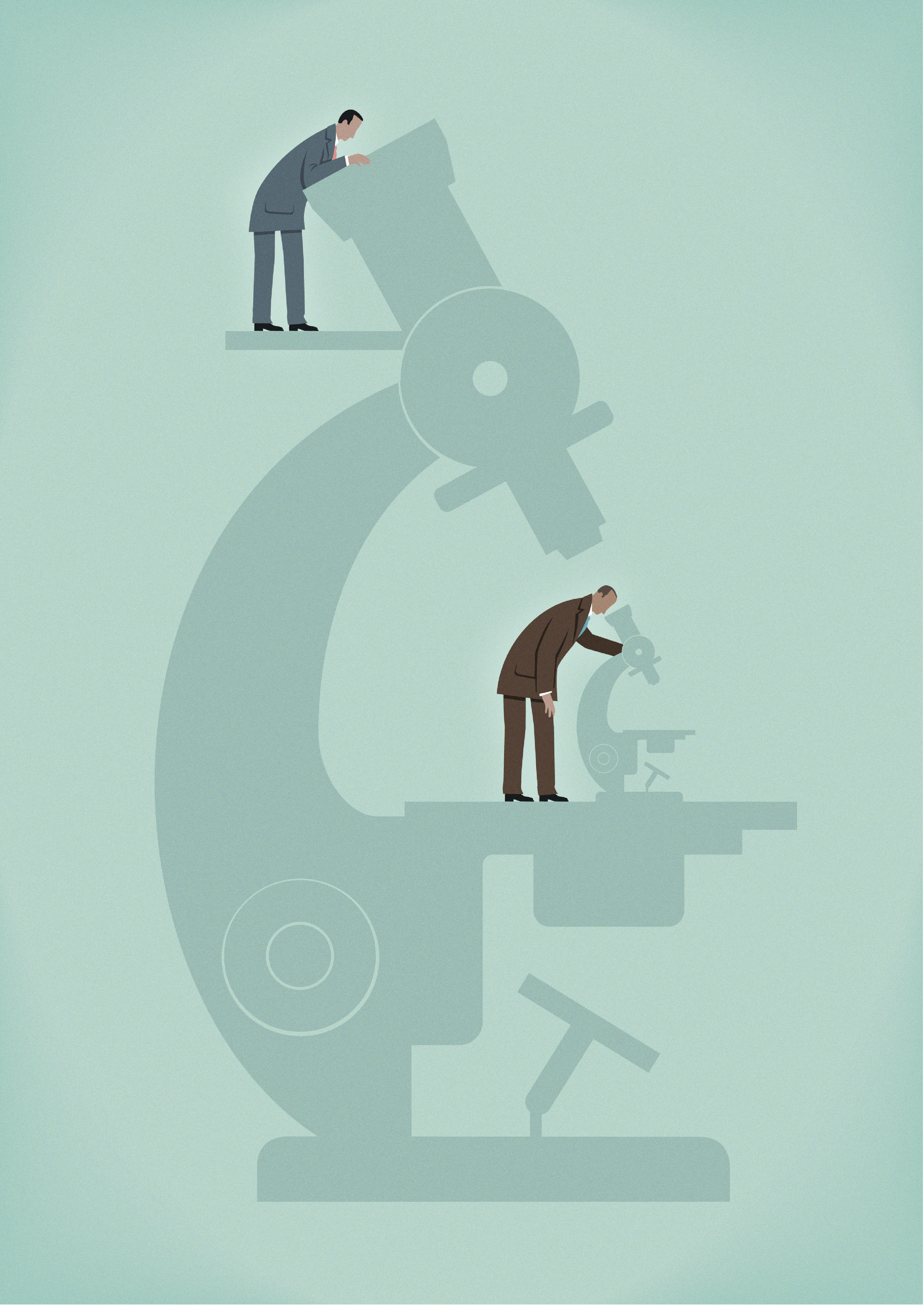 Businessman with large microscope watching businessman using microscope