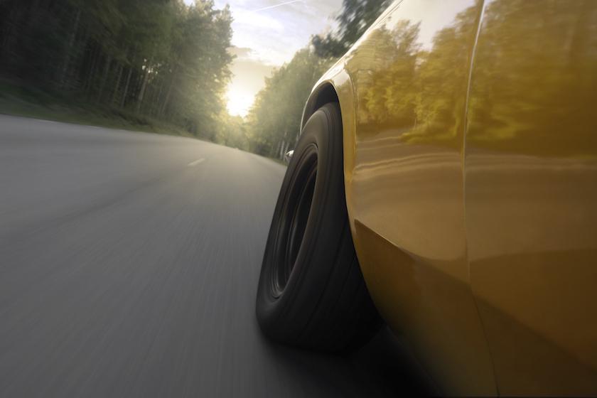 Muscle car speeding