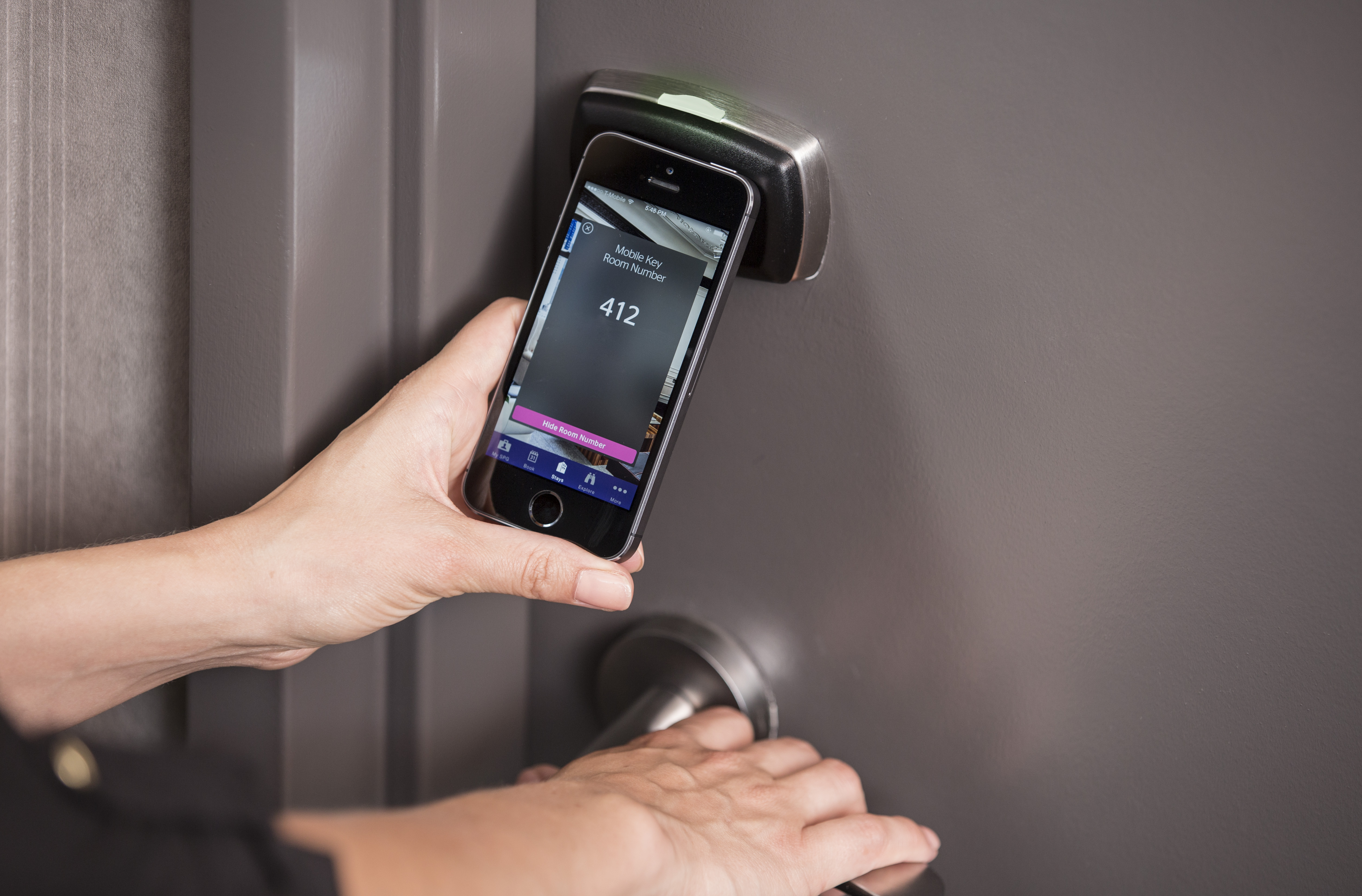 Smartphone used to open hotel room.