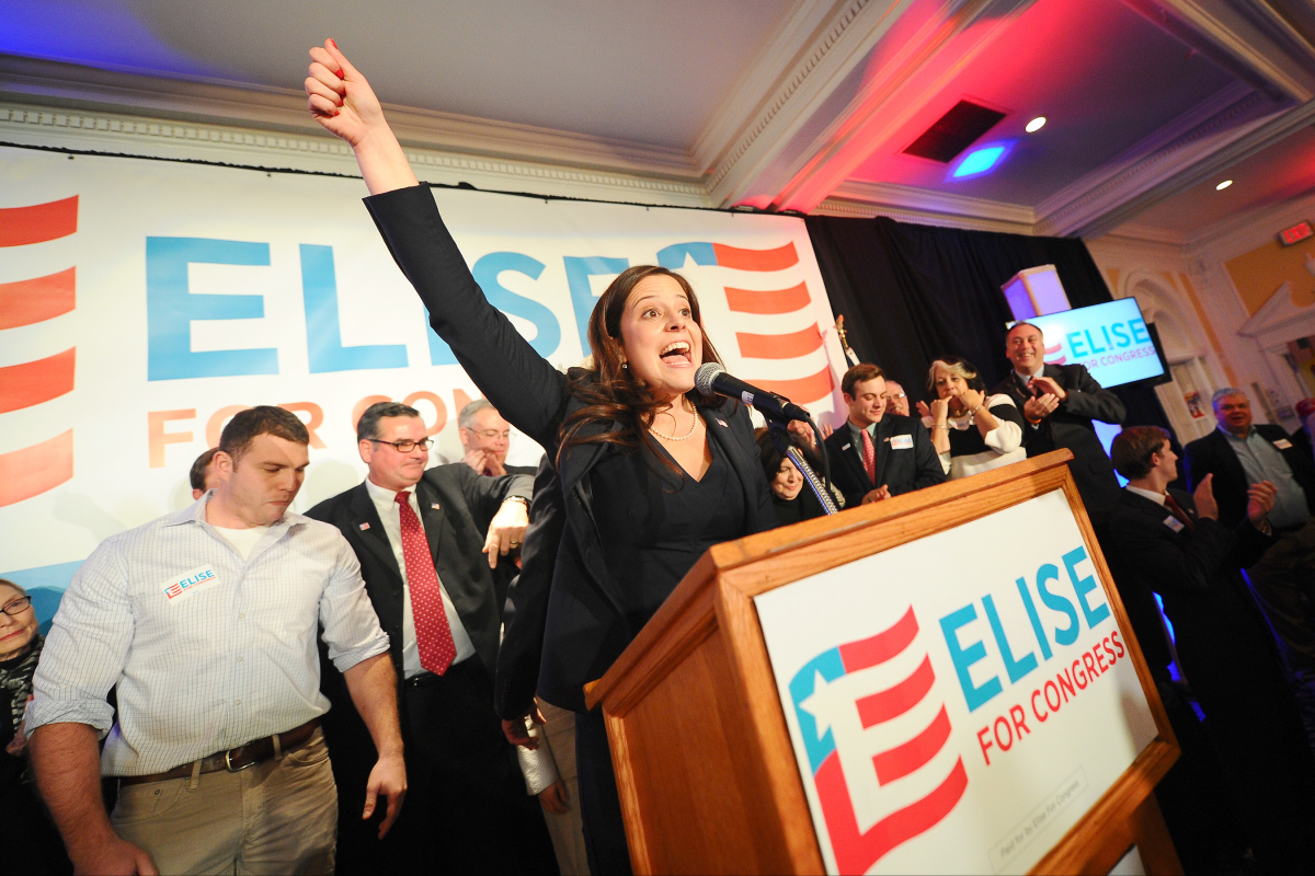 Elise Stefanik celebrates her win in the 21st Congressional district on Tuesday, Nov. 4, 2014.