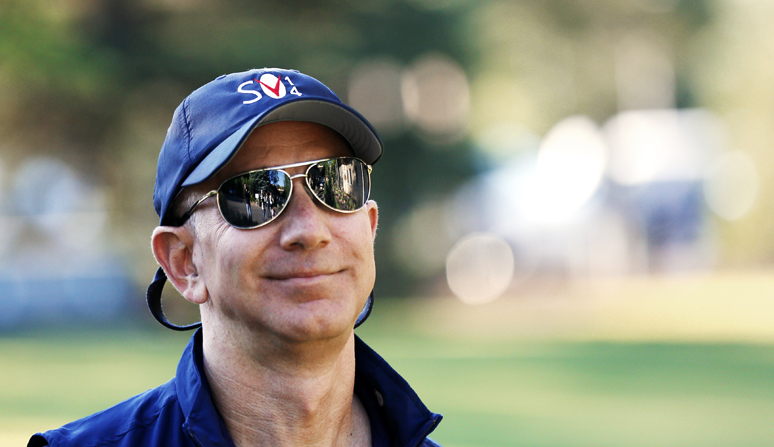 Jeff Bezos, founder and CEO of Amazon.com, arrives for the third day of the Allen and Co. media conference in Sun Valley