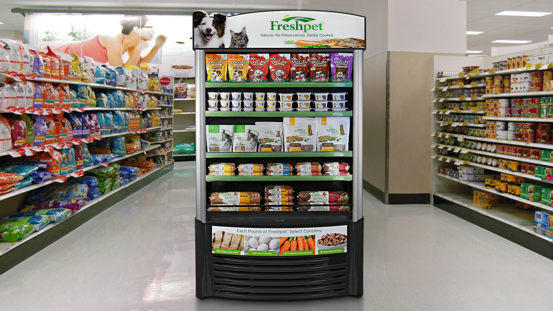 A Freshpet refrigerator located in a big-box retail store.