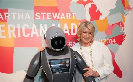 "A ""robot butler"" and Martha Stewart at the 2014 American Made Summit. (Courtesy: Martha Stewart)"