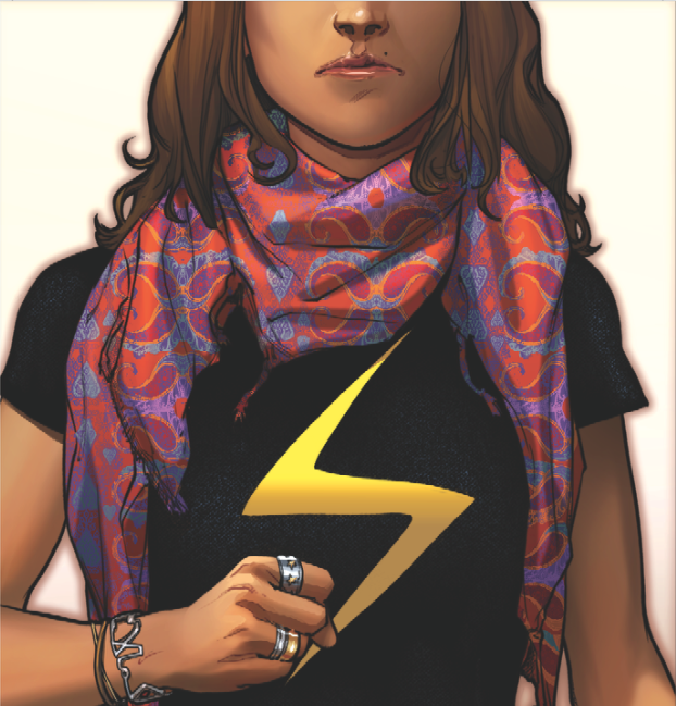 Ms. Marvel, a character relaunched this year, is a Muslim-American teen.