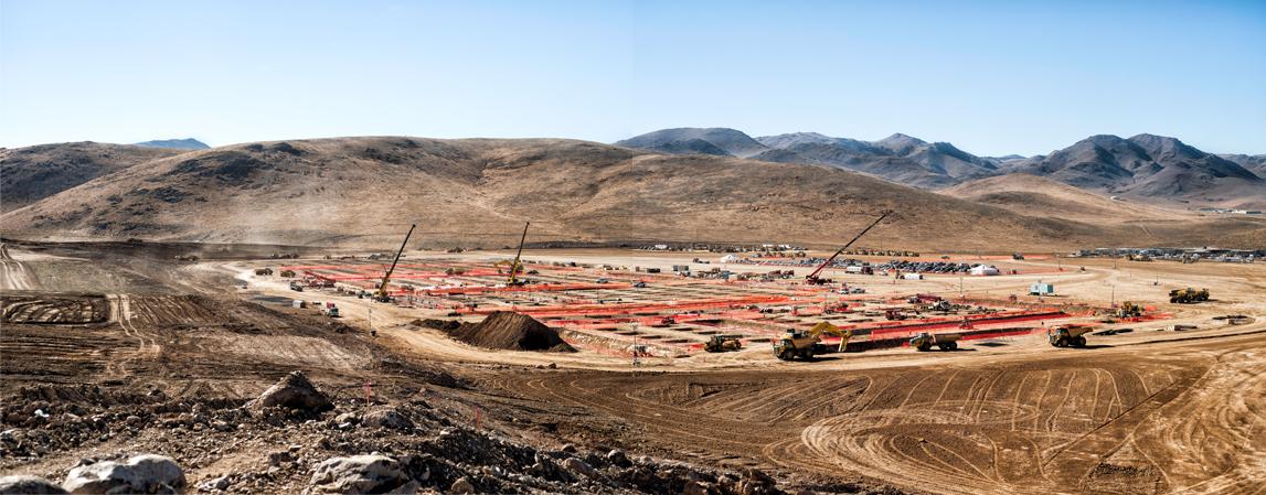 "construction at Tesla's ""gigafactory"" outside Reno"