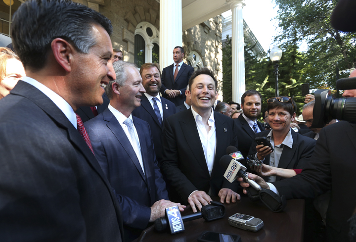 "Tesla 'gigafactory"", Nevada Governor Brian Sandoval, Elon Musk, Steve Hill"