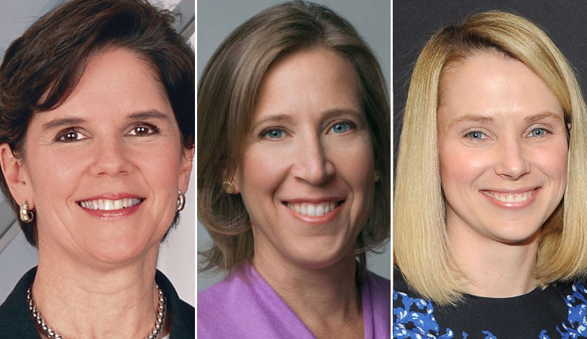 Phebe Novakovic, left, Susan Wojcicki and Marissa Mayer.