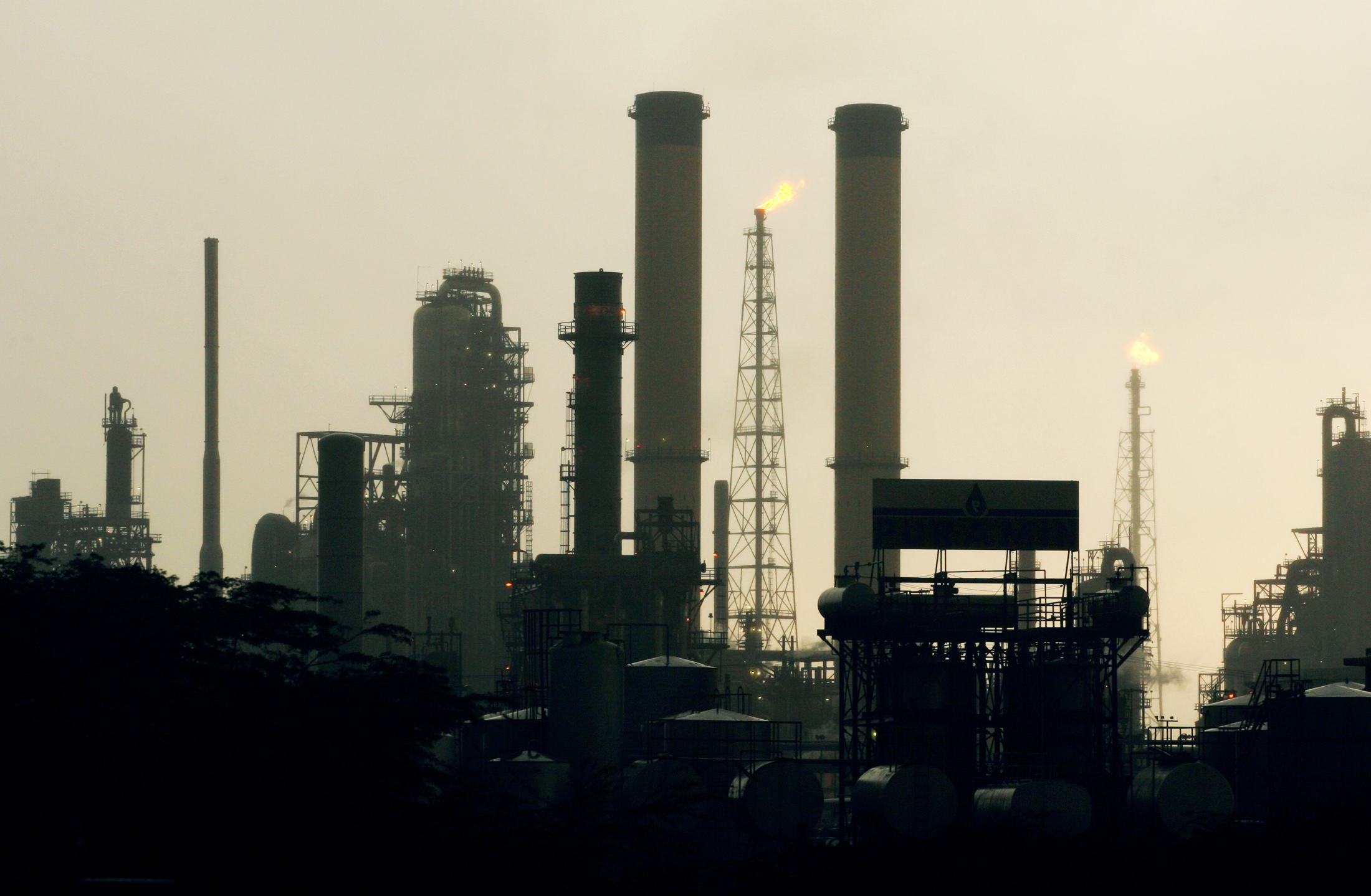 View of Venezuela's Amuay Oil refinery during daybreak in Punto Fijo