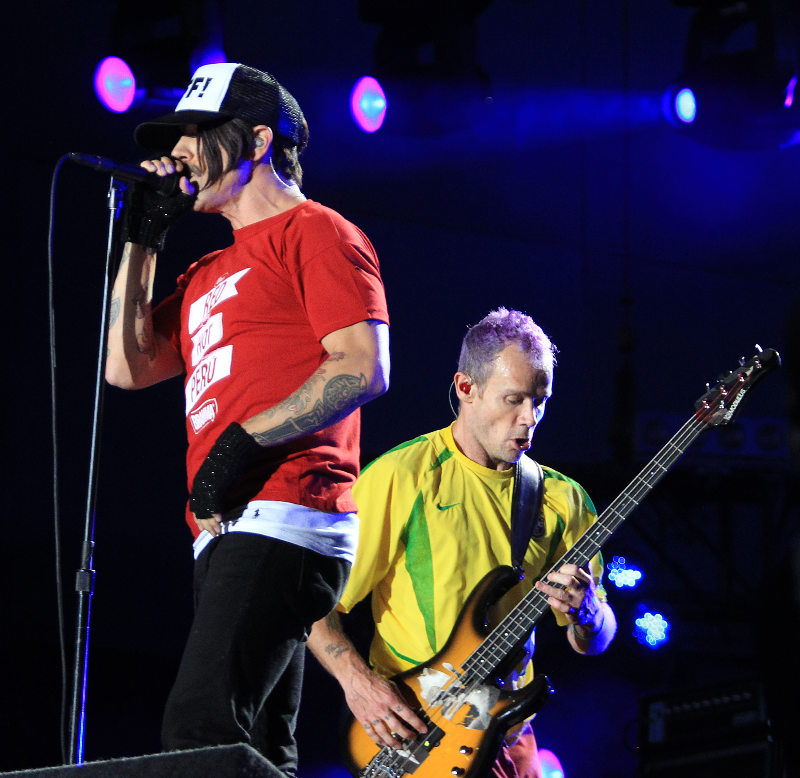 "Kiedis and bass player ""Flea"" of the rock band Red Hot Chilli Peppers perform at the Rock in Rio Music Festival in Rio de Janeiro"