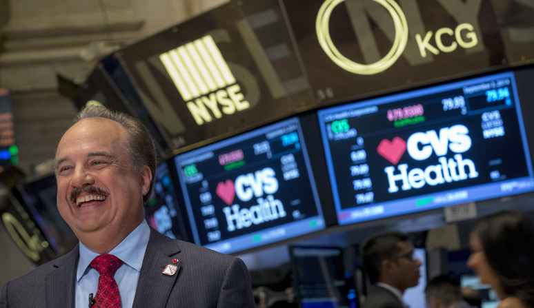 CVS Health President and CEO Larry J. Merlo gives an interview on the floor of the New York Stock Exchange