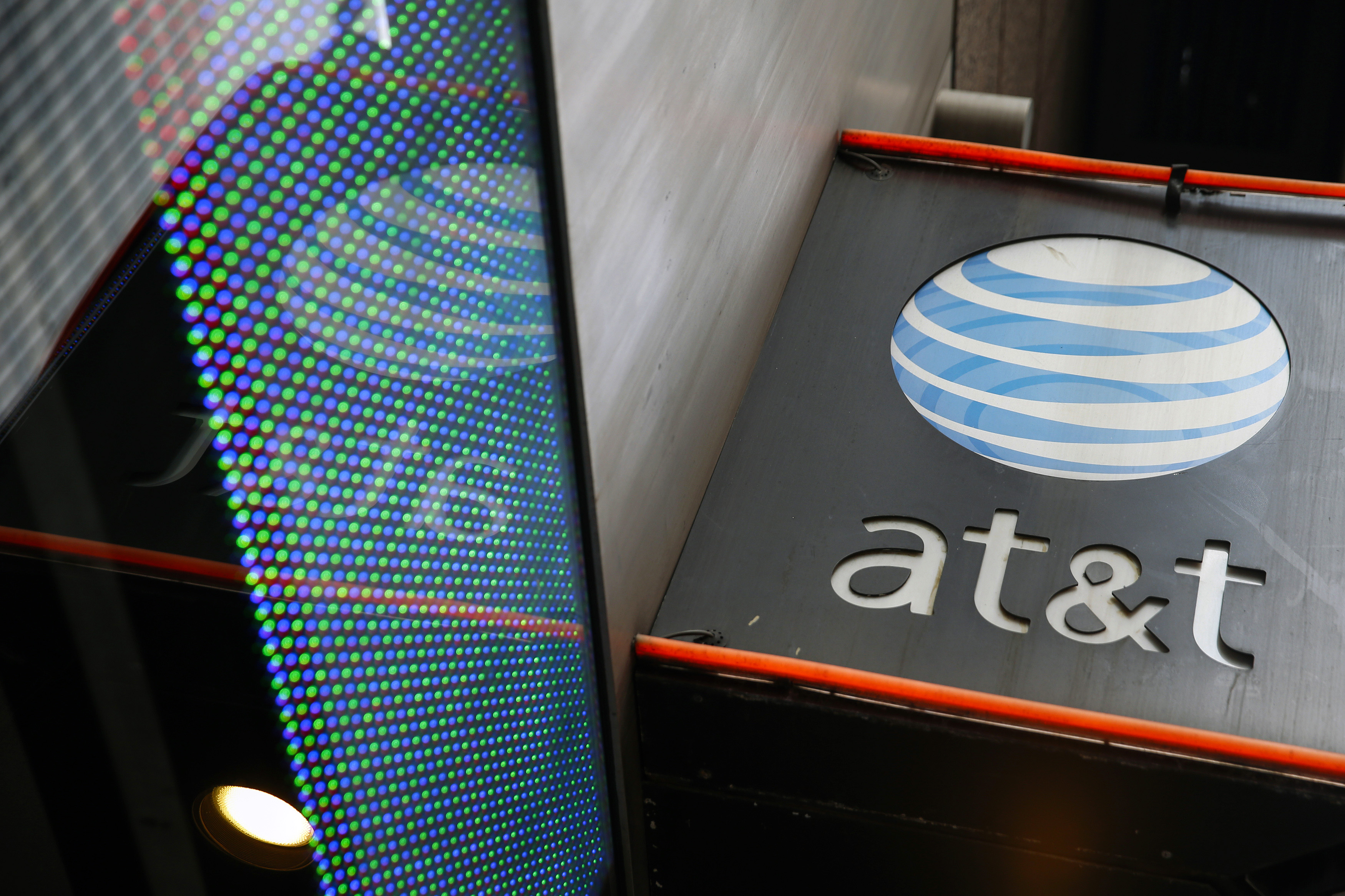 The signage for an AT&T store is seen in New York