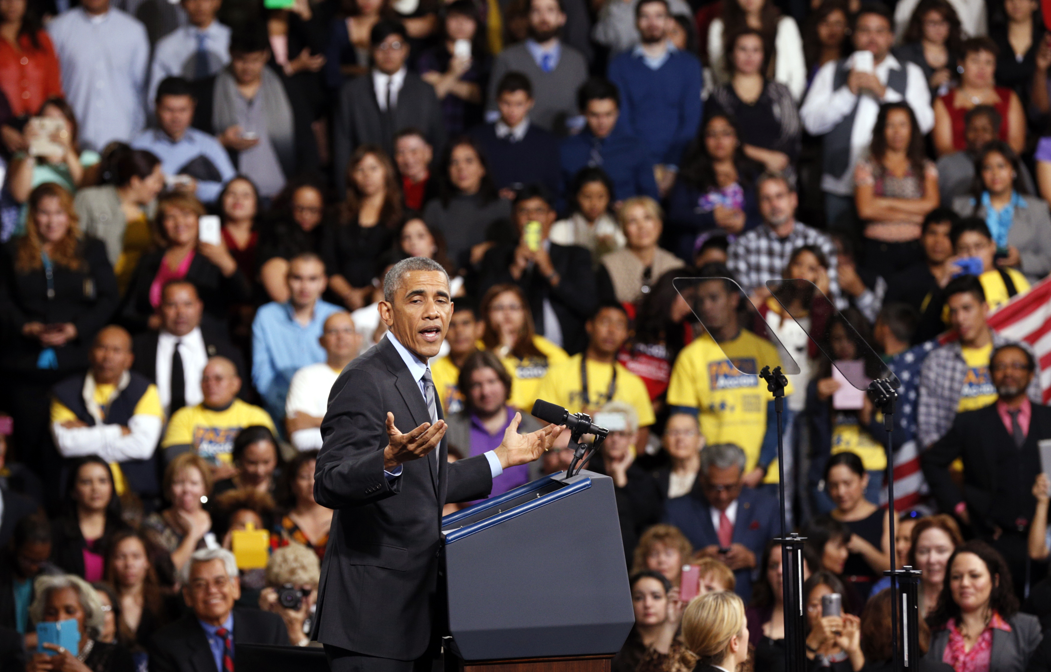 U.S. President Obama speaks about immigration reform during a visit to Del Sol High School in Las Vegas, Nevada