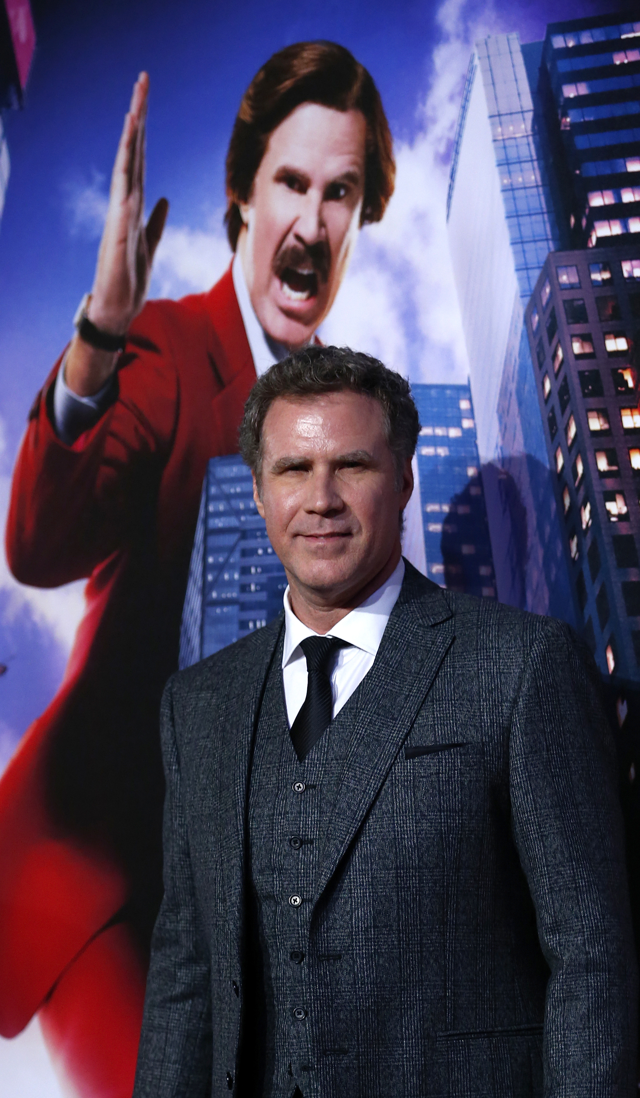 Actor Will Ferrell poses at the UK Premiere of the film Anchorman 2 in Leicester Square, London