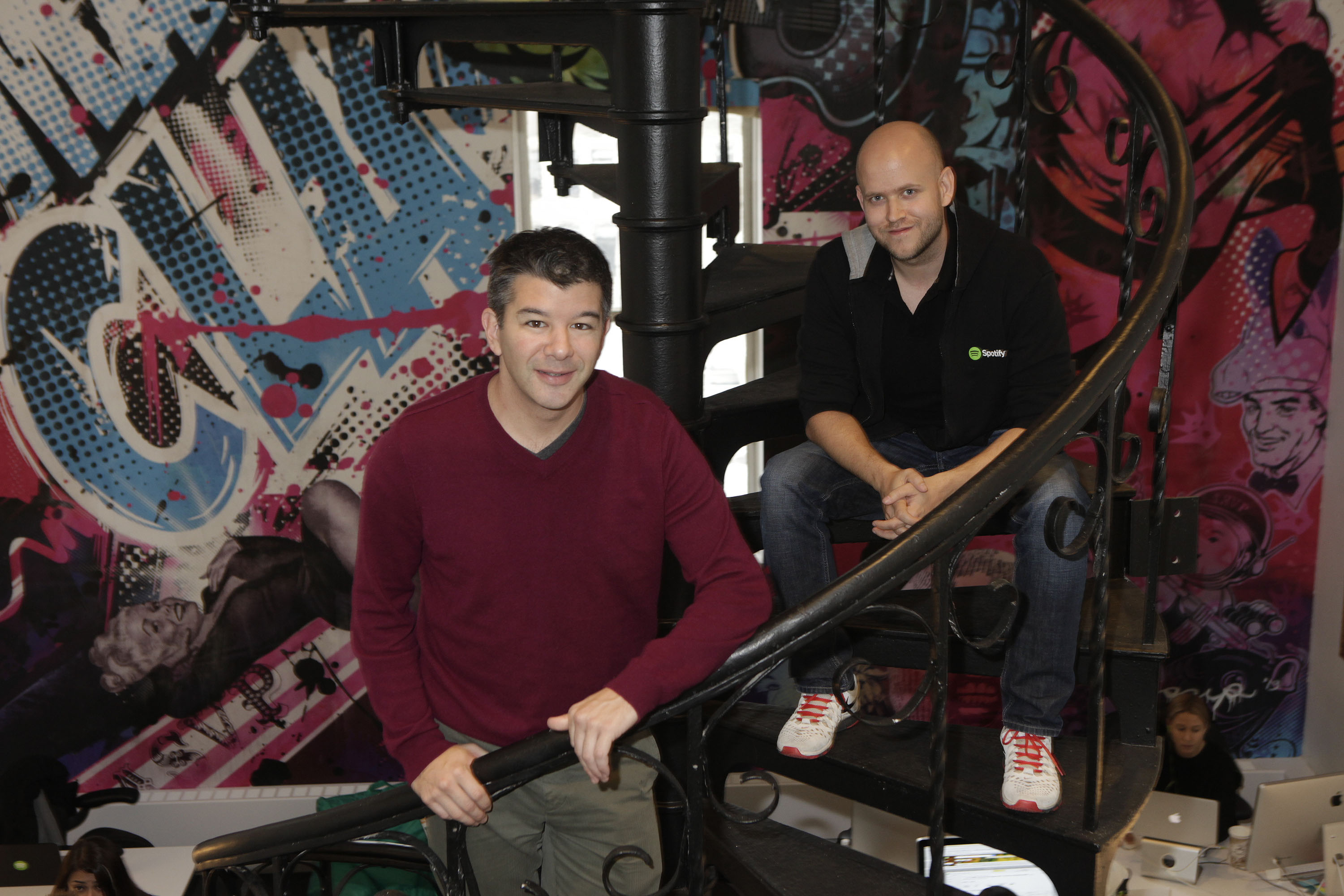 Uber CEO Travis Kalanick and Spotify CEO Daniel Ek.